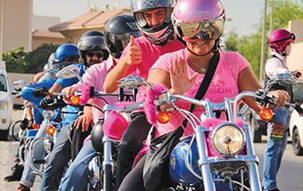 Gulf Weekly 'Pink' bikers on the highway
