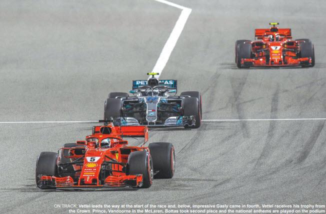 Gulf Weekly Jubilant Vettel edges home